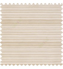 Cream color horizontal chenille stripes texture finished with transparent polyester base fabric sheer curtain