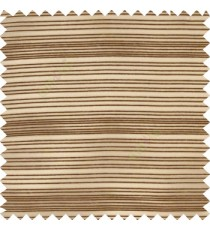Dark brown gold color horizontal chenille stripes texture finished with transparent polyester base fabric sheer curtain