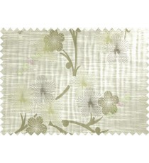 Green White Grey Twig Floral Design Polycotton Main Curtain-Designs