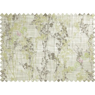 Green Beige Brown Spring Floral Tree Polycotton Main Curtain-Designs