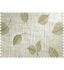 Brown Green Peepal Leaf Polycotton Main Curtain-Designs