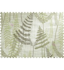 Green Beige Brown Natural Ferns Forest Poly Main Curtain-Designs