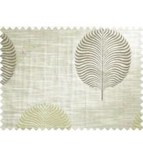 Green Beige Brown Big Round Leaf Poly Main Curtain-Designs