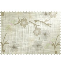 Brown Grey Beige Twig Floral Design Polycotton Main Curtain-Designs