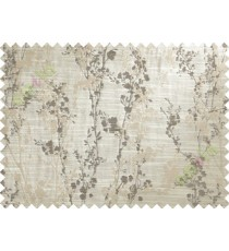 Brown Beige Spring Floral Tree Polycotton Main Curtain-Designs
