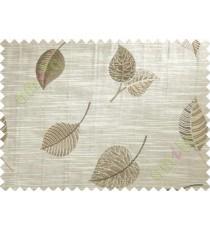 Brown Beige Peepal Leaf Polycotton Main Curtain-Designs