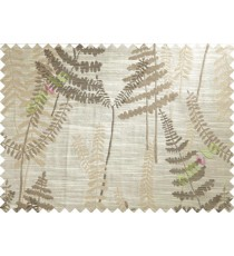 Brown Beige Natural Ferns Forest Poly Main Curtain-Designs