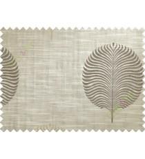 Brown Beige Beige Big Round Leaf Poly Main Curtain-Designs