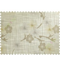 Brown Grey Yellow Twig Floral Design Polycotton Main Curtain-Designs