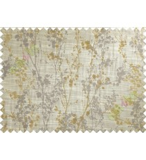 Brown Yellow Grey Spring Floral Tree Polycotton Main Curtain-Designs
