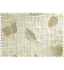 Beige Brown Yellow Peepal Leaf Polycotton Main Curtain-Designs