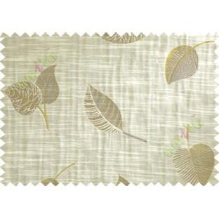 Beige Brown Yellow Peepal Leaf Polycotton Main Curtain-Designs