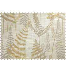 Brown Grey Yellow Natural Ferns Forest Poly Main Curtain-Designs