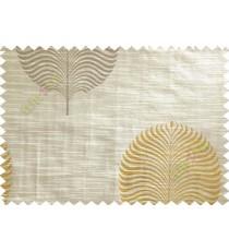 Beige Yellow Grey Big Round Leaf Poly Main Curtain-Designs