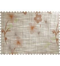 Brown Orange Twig Floral Design Polycotton Main Curtain-Designs