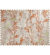 Orange Beige Grey Spring Floral Tree Polycotton Main Curtain-Designs