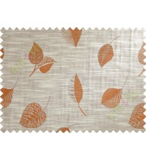 Brown Beige Brick Colour Peepal Leaf Polycotton Main Curtain-Designs