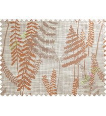 Brick Colour Brown Beige Natural Ferns Forest Poly Main Curtain-Designs