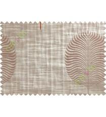 Brick Colour Beige Grey Big Round Leaf Poly Main Curtain-Designs
