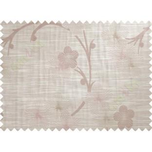 Beige Pink Brown Twig Floral Design Polycotton Main Curtain-Designs