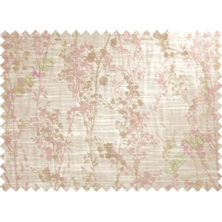 Pink Beige Spring Floral Tree Polycotton Main Curtain-Designs