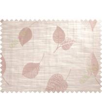Beige Pink Peepal Leaf Polycotton Main Curtain-Designs
