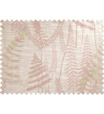 Pink Beige Natural Ferns Forest Poly Main Curtain-Designs