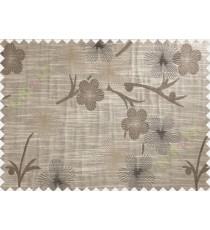 Black Brown Twig Floral Design Polycotton Main Curtain-Designs