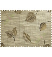 Black Brown Beige Peepal Leaf Polycotton Main Curtain-Designs