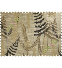 Black Brown Beige Natural Ferns Forest Poly Main Curtain-Designs