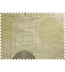 Brown Black Big Round Leaf Poly Main Curtain-Designs