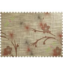 Brown Maroon Beige Twig Floral Design Polycotton Main Curtain-Designs