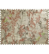 Brown Red Beige Spring Floral Tree Polycotton Main Curtain-Designs