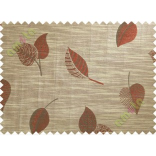 Brown Red Peepal Leaf Polycotton Main Curtain-Designs
