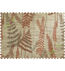 Red Brown Natural Ferns Forest Poly Main Curtain-Designs