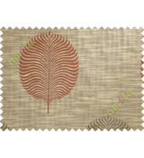 Red Brown Beige Big Round Leaf Poly Main Curtain-Designs