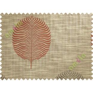 Red Brown Beige Big Round Leaf Poly Main Curtain-Designs