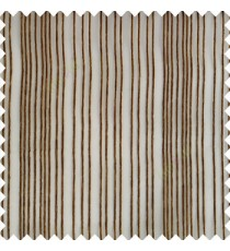 Brown gold color vertical stripes texture finished transparent net fabric polyester chenille sheer curtain