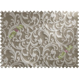 Brown Grey Floral Leaf Creeper Polycotton Main Curtain-Designs