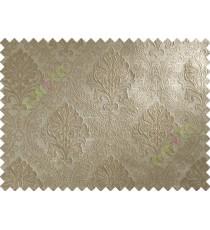 Brown Beige Damask Polycotton Main Curtain-Designs