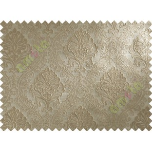 Brown Beige Damask Polycotton Main Curtain-Designs