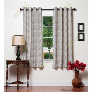 Pure White Silver Color Horizontal Stripes with Emb Paisley Design Polyester Sheer Curtain-Designs