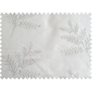 White Silver Color Horizontal Stripes with Plant Metisse Polyester Sheer Curtain-Designs