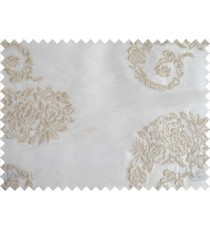 Pure White Beige Color Horizontal Stripes with Emb Paisley Design Polyester Sheer Curtain-Designs