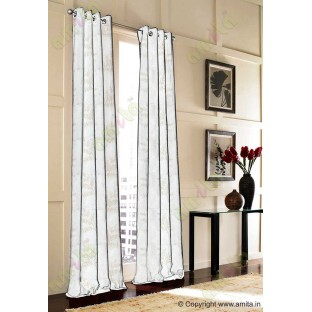 Pure White Beige Color Horizontal Stripes with Plant Metisse Polyester Sheer Curtain-Designs