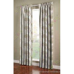 Pure White Brown Color Horizontal Stripes with Emb Paisley Design Polyester Sheer Curtain-Designs