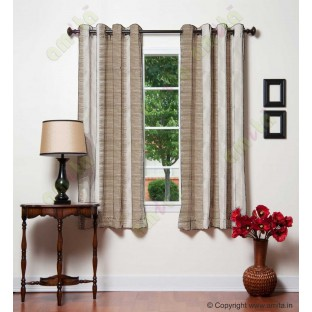 Pure White Brown Beige Color Horizontal Pencil Stripes with Vertical Emb Stripes Polyester Sheer Curtain-Designs