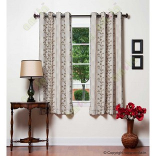 Pure White Brown Beige Color Vertical Seamless Metisse Emb Pattern with Horizontal Pencil Stripes Polyester Sheer Curtain-Designs