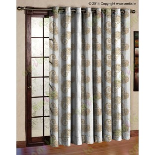 Pure White Gold Color Horizontal Stripes with Emb Paisley Design Polyester Sheer Curtain-Designs