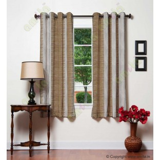 Pure White Gold Color Horizontal Stripes with Plant Metisse Polyester Sheer Curtain-Designs